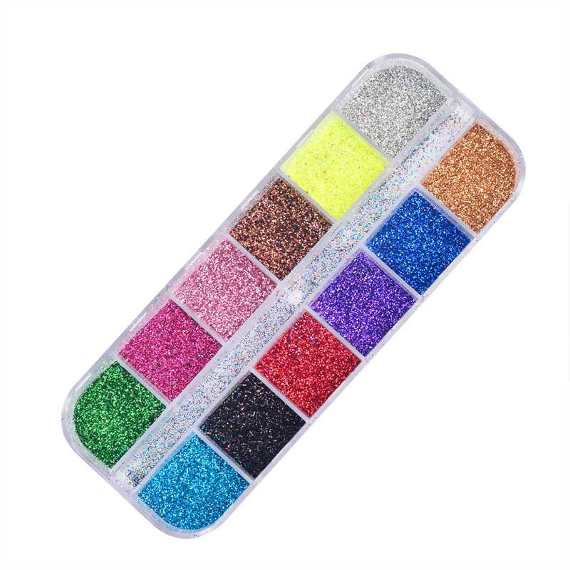 Hot Koop Holografische Glitter Laser Poeder Nail Glitter Manicure Nail Art Chrome Pigment Diy Nagels-12 Kleuren Beschikbaar
