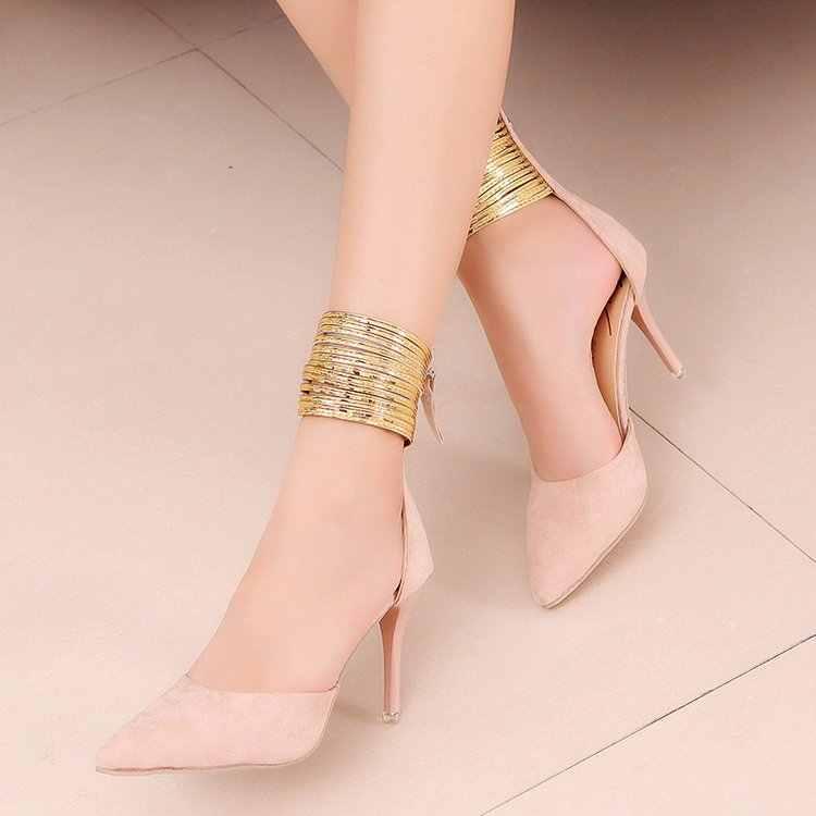 Kadın Pompaları Ayakkabı Kadın PU Deri Sığ Slip-On Sivri Burun Yüksek topuklu Düğün Parti elbise kadın ayakkabı artı boyutu 35-39*067