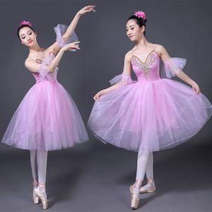 Image 3 - Erwachsene Romantische Ballett Tutu Rehearsal Praxis Rock Schwan Kostüm für Frauen Lange Tüll Kleid Weiß rosa blau farbe Ballett Tragen