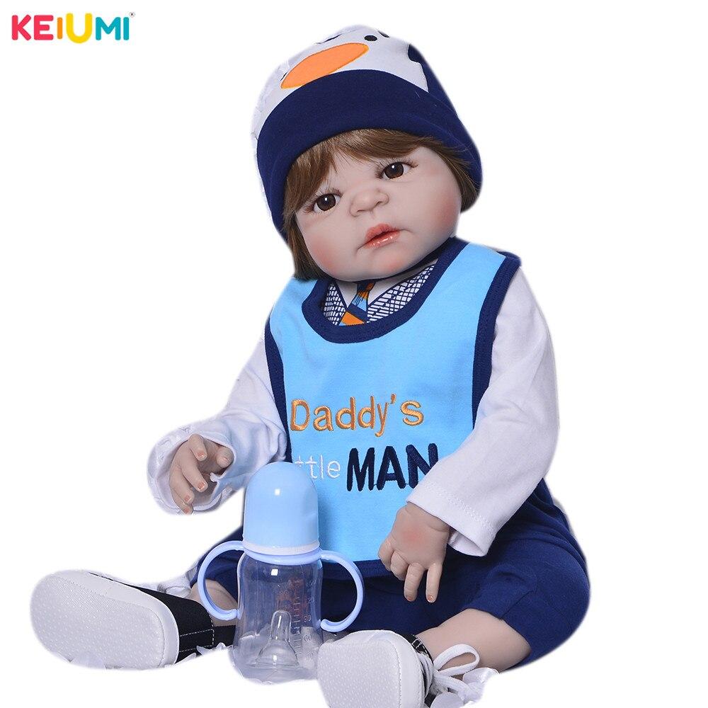 23 Inch Full Vinyl Body Silicone Babies Doll For Baby Boy Toys 57 cm Realistic Boneca
