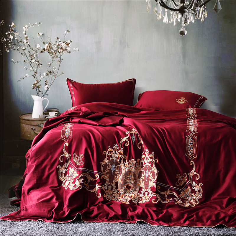 Wine Red Luxury Golden Royal Embroidery Egyptian Cotton