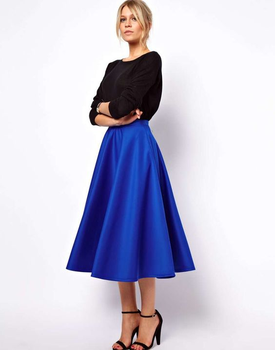 WBCTW Midi Satin Skirt XXS-10XL Plus Size High Waist Solid Blue Summer Skirts Knee Length A-line Style Swing Casual Woman Skirts