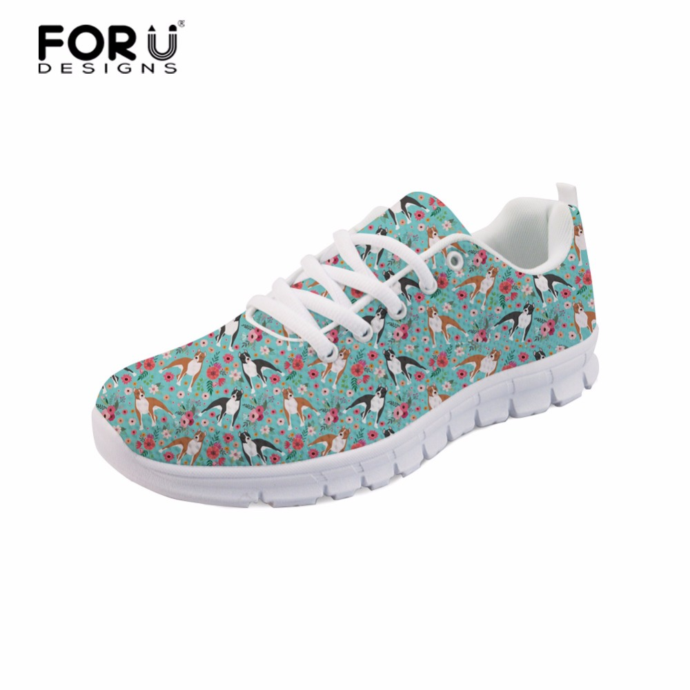 FORUDESIGNS Staffordshire Terrier Women Sneakers Akita Flower Girls Lightweight Lace-up Shoes Teenager Casual Flats Mesh Shoes instantarts fashion girls flats shoes funny dog alaskan malamute flower printing mesh flats shoes casual women lace up sneakers