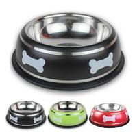 Bone Printed Stainless Steel Pet Dog Bowl Puppy Cat Food Drink Water Dish