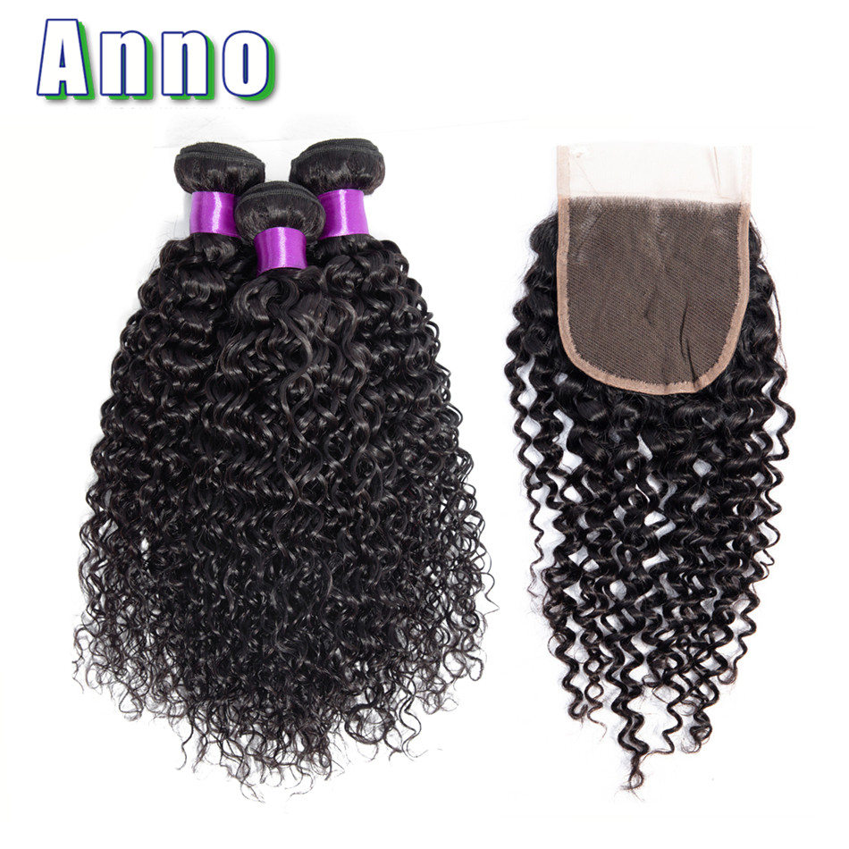Annowig Malaysia Curly Hair Bundles With Closure Natural Color Hair Weaves Non Remy Human Hair 3
