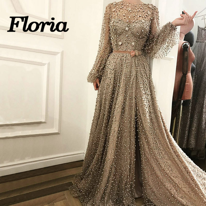 Newwst African Diamond Pearls Sparkle   Evening     Dresses   Beading Arabic Turkish Formal Prom   Dress   Kaftan Gradient Gowns Vestidos