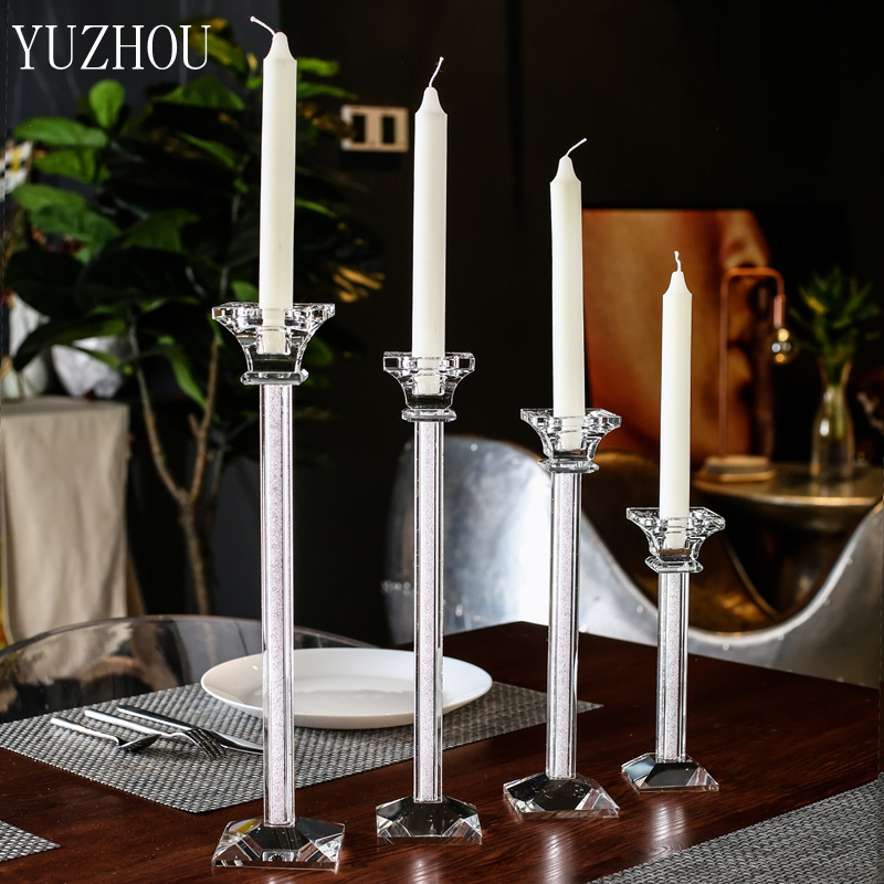 200mm-360mm Transparent Crystal Glass Pole Candle Holder For Wedding Party Candlelight Dinner Decor Christmas Decoration Gifts