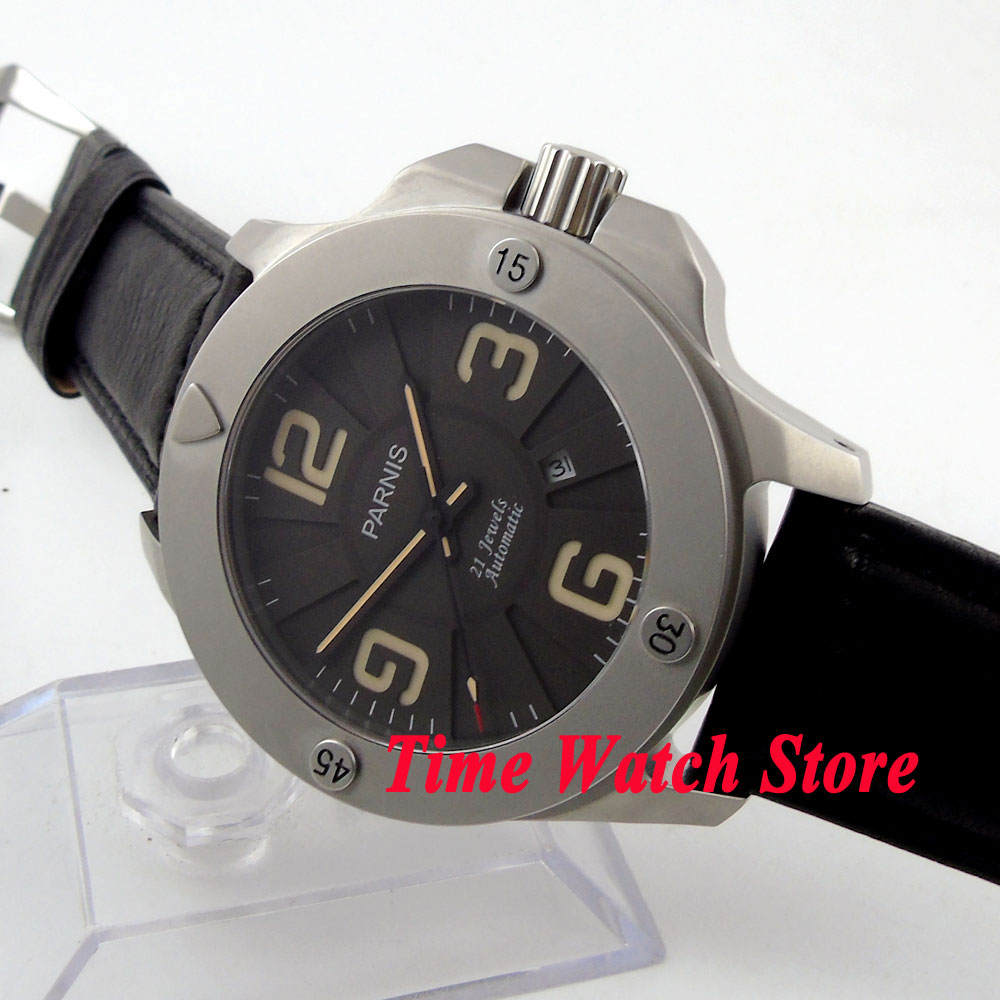 Parnis 47mm black dial luminous 5ATM water resistance 21 jewels MIYOTA Automatic movement mens watch 587AParnis 47mm black dial luminous 5ATM water resistance 21 jewels MIYOTA Automatic movement mens watch 587A