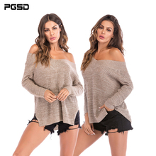 PGSD Autumn winter Women clothes Long sleeved V collar Simple fashion pure color strapless Forking Knitted sweater female Tops