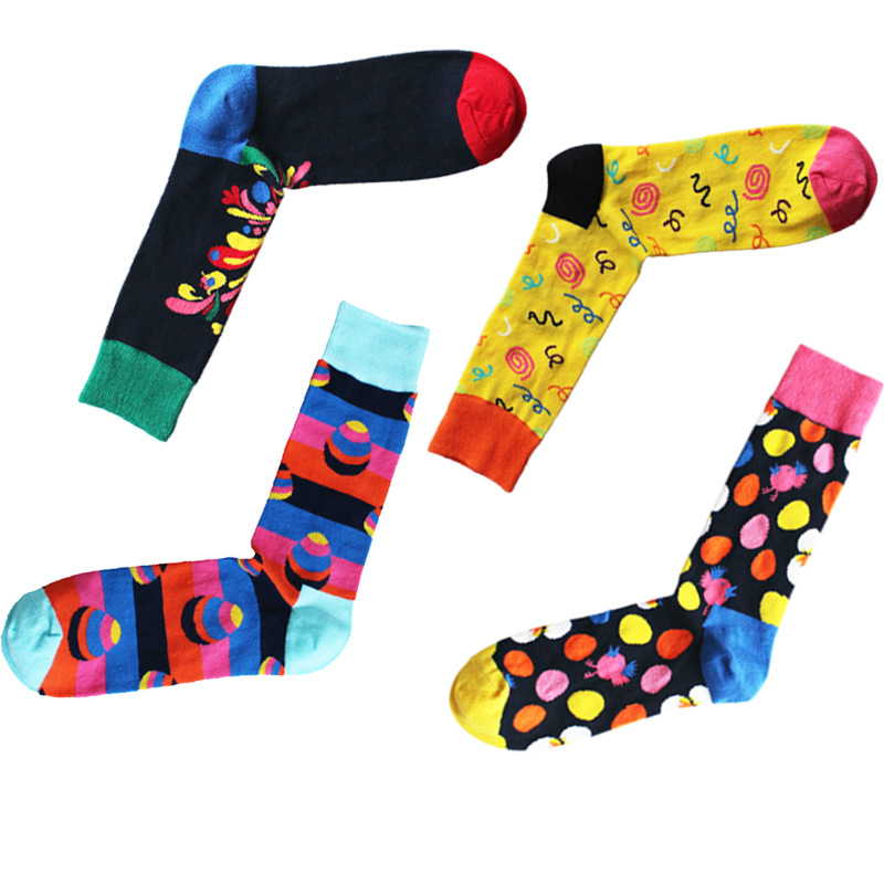 New arrival arrival Cotton men socks geometric dot pattern hip-hop casual Harajuku designer brand novelties Calcetines de hombre