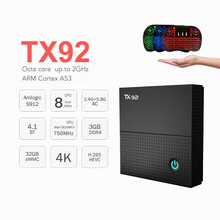 S912 Tanix TX92 Android 7.1 Caixa De TV Amlogic Octa-core CPU SISTEMA OPERACIONAL 2 GB 3 GB 32 GB 64 GB Bluetooth 4.1 4 K Set Top Box Media Player PK X96