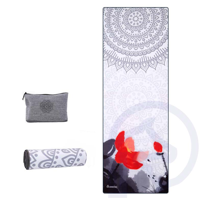 Printed Yoga Blanket Portable Folding Anti-slip Travel Outdoor Sports Sweat-absorbent Fitness Exercise Pilates Yoga Mat Cover women yoga dance sports pilates anti slip exercise massage half toe socks