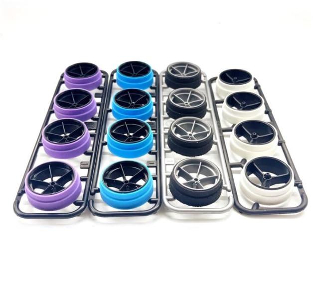 4 piezas de neumáticos de corte de gran diámetro neumático pulido Manual 95254/15414 para 1/32 báscula Tamiya Mini 4WD modelo de coche de carreras