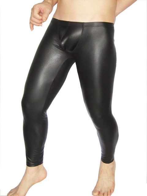 6dd919d63cc92 Sexy Faux Matte Leather Men's Tight Leggings Thin Solid Black Pants Club  Wear Skinny Jeans