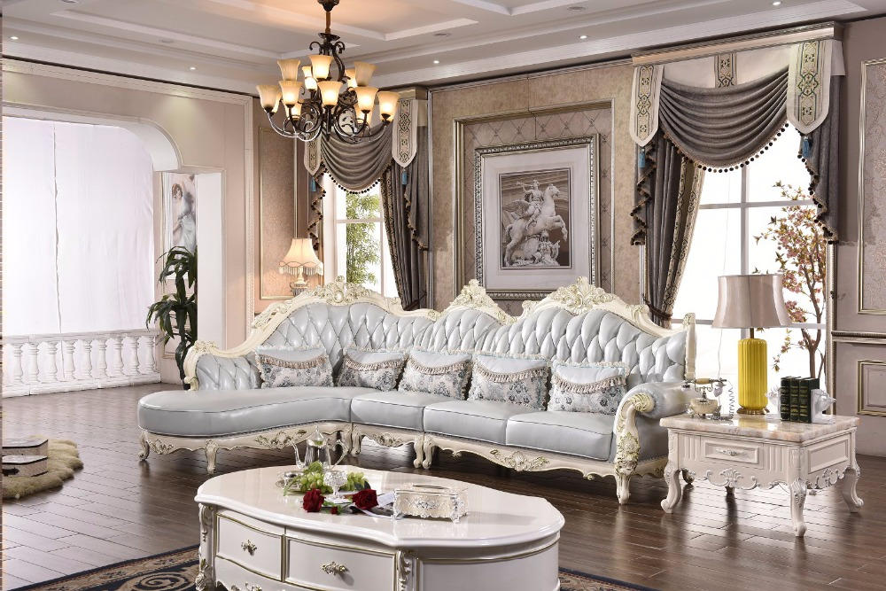 2017 hot selling home furniture sofa french style solid wood frame italian l shape corner leather