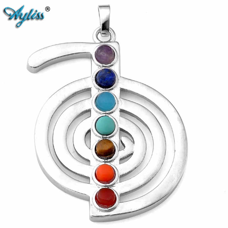 Ayliss Hot Wholesale  1x Cho Ku Rei 7 Chakra Beads Silvery Reiki Gem Healing Point Pendant Necklace Energy Jewelry With Chain