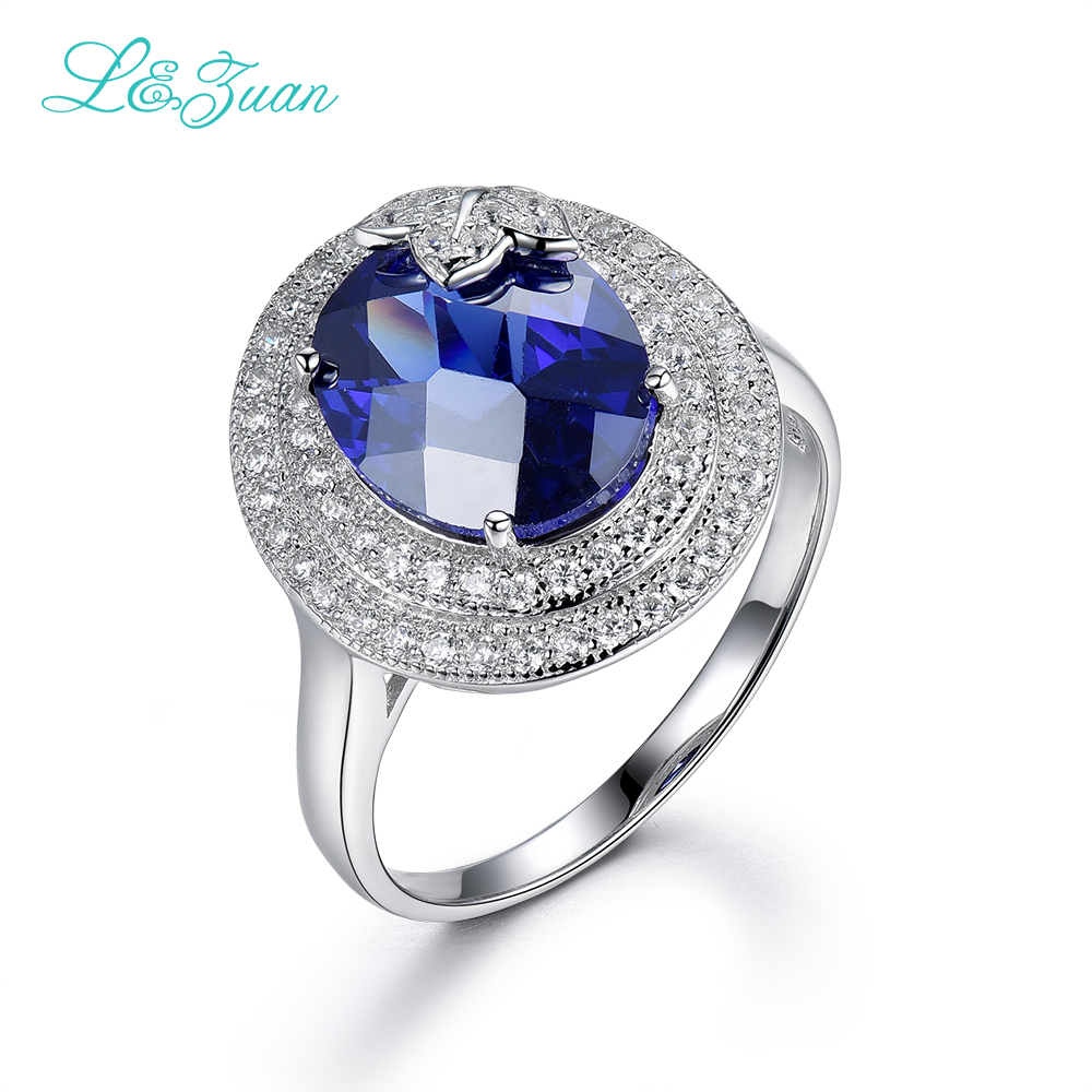 цена на l&zuan Real 925 Sterling Silver Rings Prong Setting 10.2ct Blue Stone Luxury Ring Fine jewelry For Women