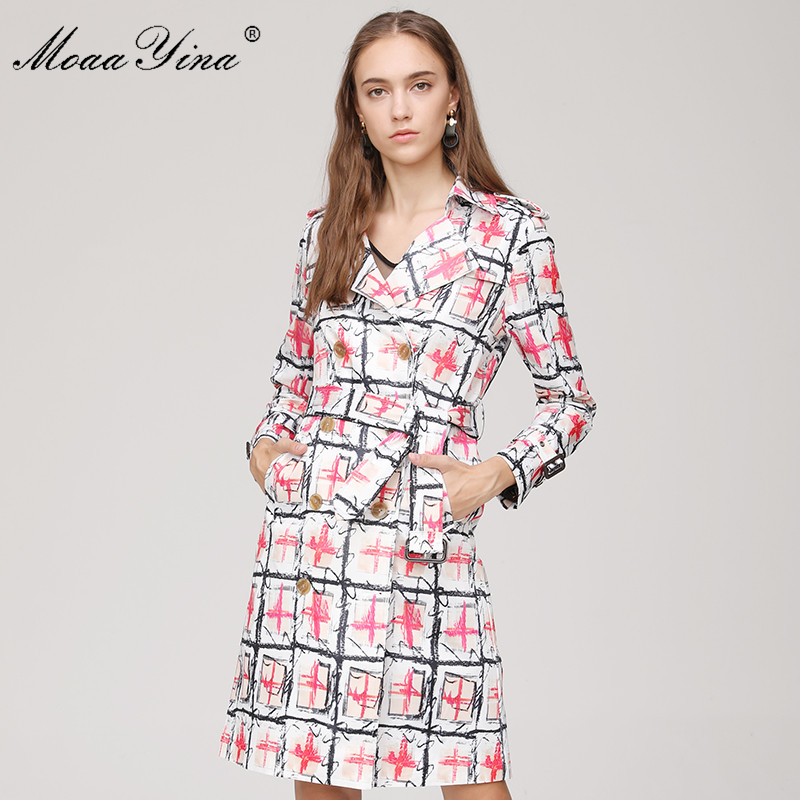 MoaaYina Fashion Designer Windbreaker Overcoat Autumn winter Women Long sleeve Double-breasted Plaid Print Keep warm Overcoat