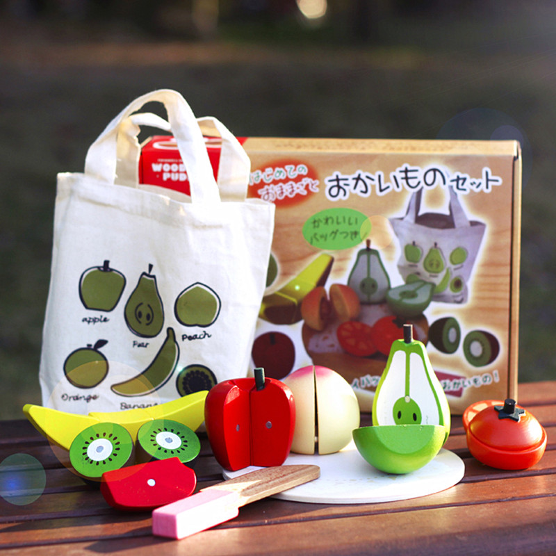 Baby Toys Japan Brand Magnetic Fruits Cut Wooden Toys Food Sets Educational Kitchen Toys Have Hand Bag Birthday/Christmas Gift