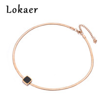 Lokaer New Arrival Sample Jewelry Stainless Steel Snake chain Thin Necklace Rose Gold Color With Square Black Bbsidian N18067(China)
