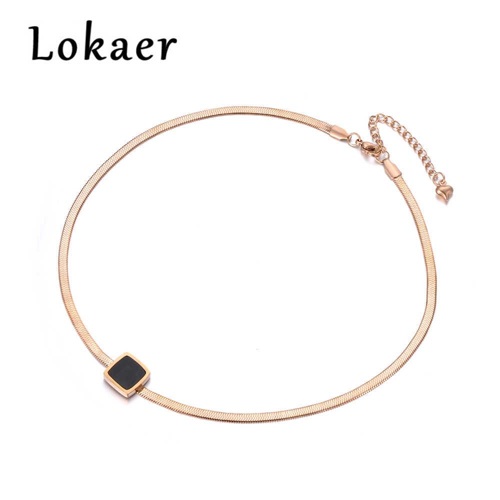 Lokaer Новое поступление образец ювелирных изделий змея из нержавеющей стали цепи тонкое ожерелье розового золота Цвет с Черный квадрат Bbsidian N18067