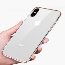 Противоударный позолоченный прозрачный силиконовый чехол для iPhone X XS XR XS Max 8 7 6 6 S Plus Прозрачная защитная задняя крышка