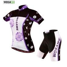 WOSAWE Summer Women MTB Cycling Jerseys Short Sleeves Bike Bicycle Sets Shirts Padded Cycling Short Wear Uniforms