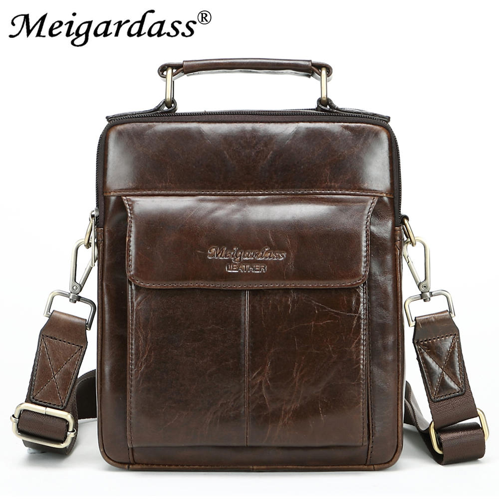 MEIGARDASS Genuine Leather Messenger Bag Men Shoulder Bag Casual Business Handbag Male iPad Tablet Bags Crossbody Bags For Man meigardass new style male genuine leather handbag man bag crossbody shoulder bag small casual messenger bags for men cowhide