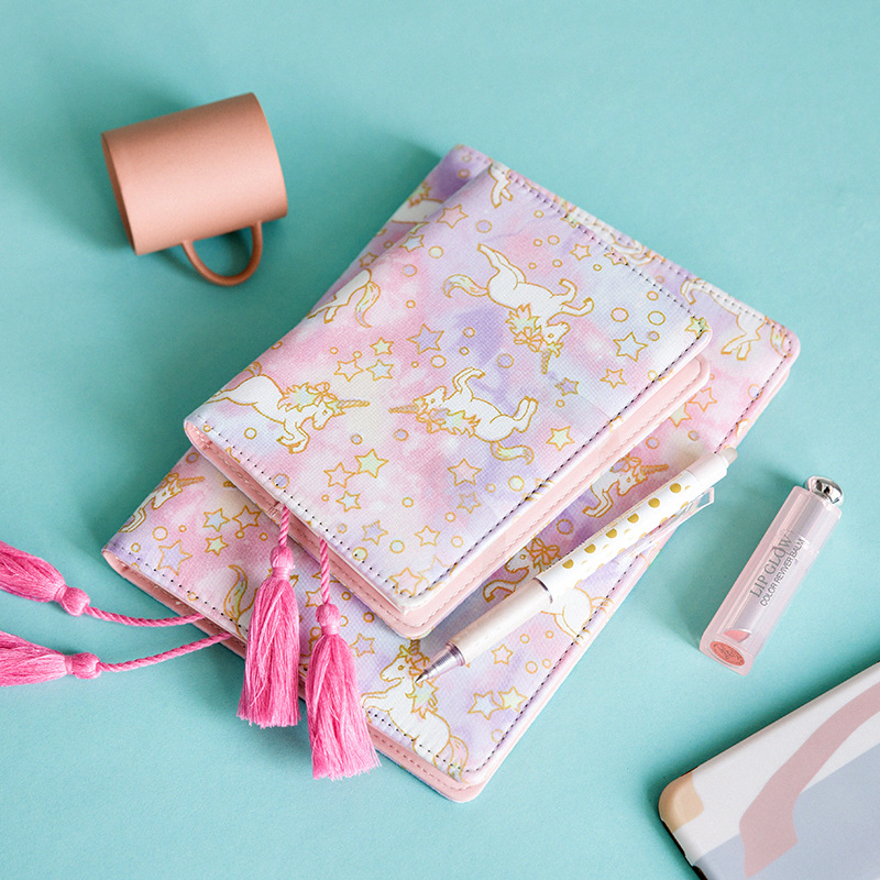 1 pcs PU Leather Cover Planner Notebook Girl Pink Unicorn Diary Book Exercise Composition Binding Note Notepad Gift Stationery цена