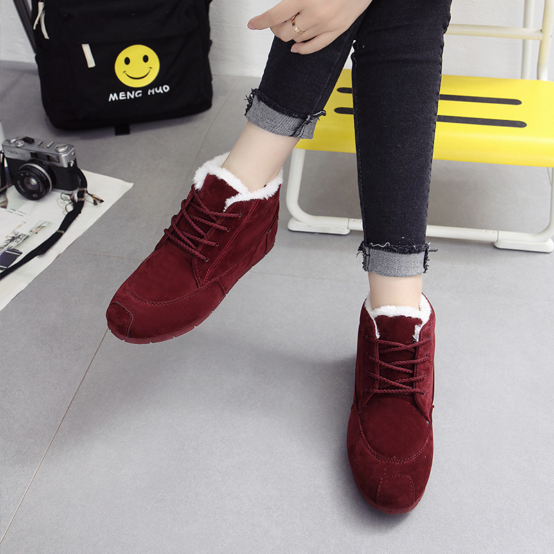 Women's Vulcanize Shoes Solid Lace UP Shoes Warm Women Casual High Shoes Plush Flock Trend Winter Shoes Youth Hot Style Outside