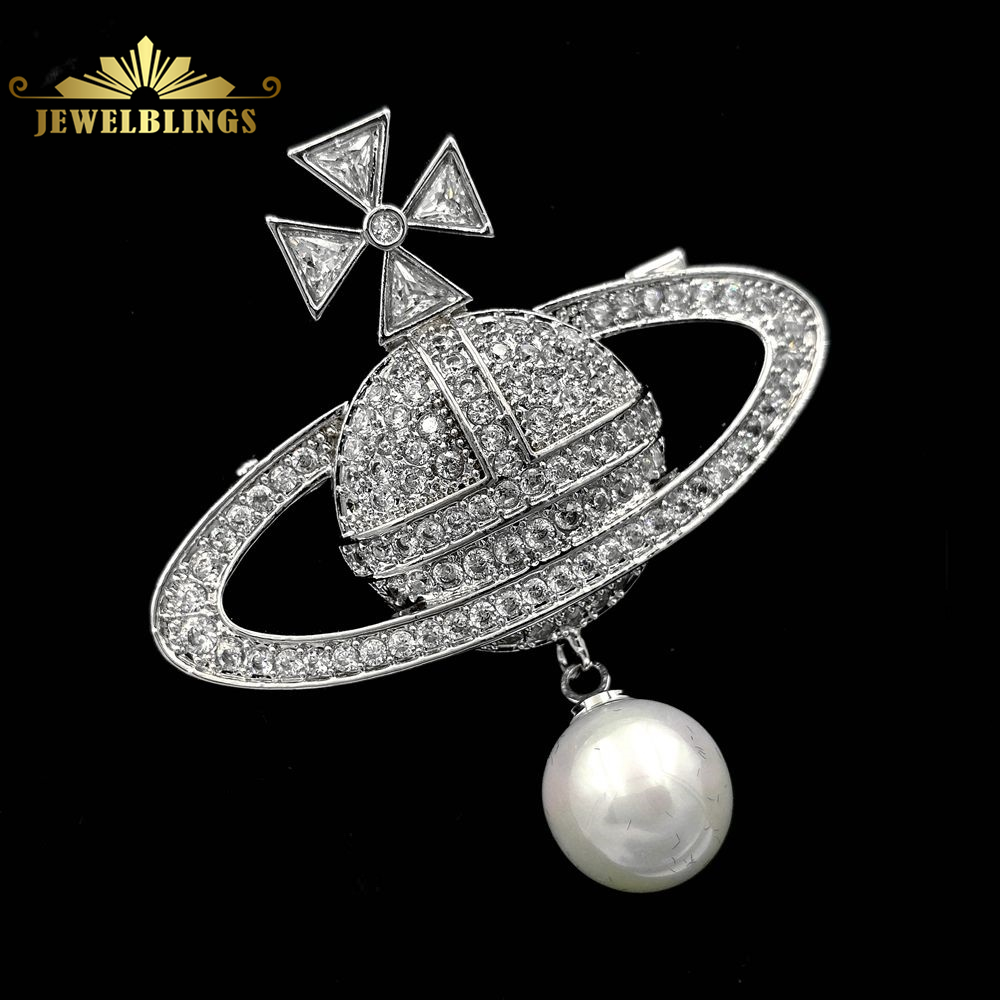 Modernistischen Vintage Style Clear CZ Celestial Planeten Brosche Silber Ton Imitiert Malteserkreuz Deco Saturn Planeten Pins