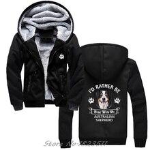 겨울 스웨터 Australian Shepherd hoodie 나는 내 호주 강아지와 함께 집에있을 것입니다. 캐주얼 남성 자켓 하라주쿠 Streetwear