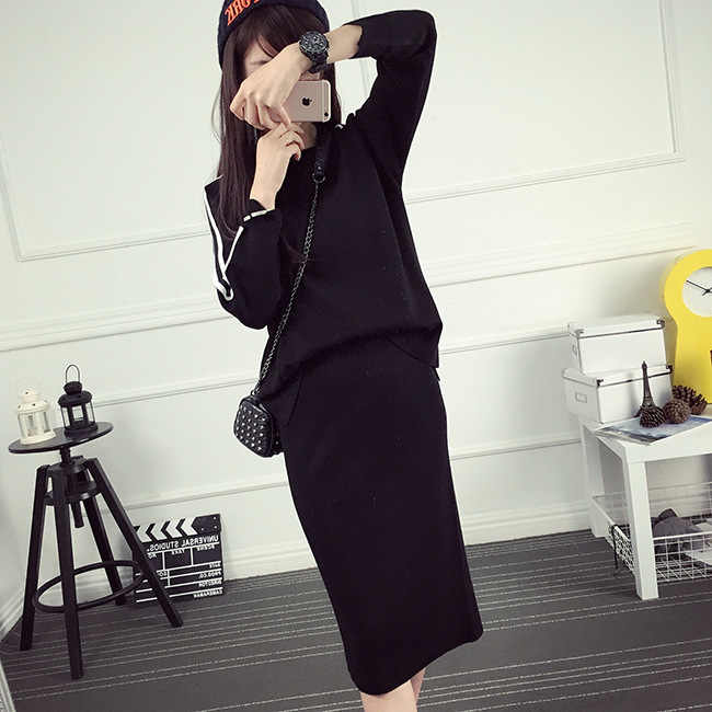 2018 Women Winter Suit Midi Black Wine Red Skirt Suit 2 Two Piece Skirt Set Slim Pullover Sweater And Pencil Skirt Pullovers Aliexpress