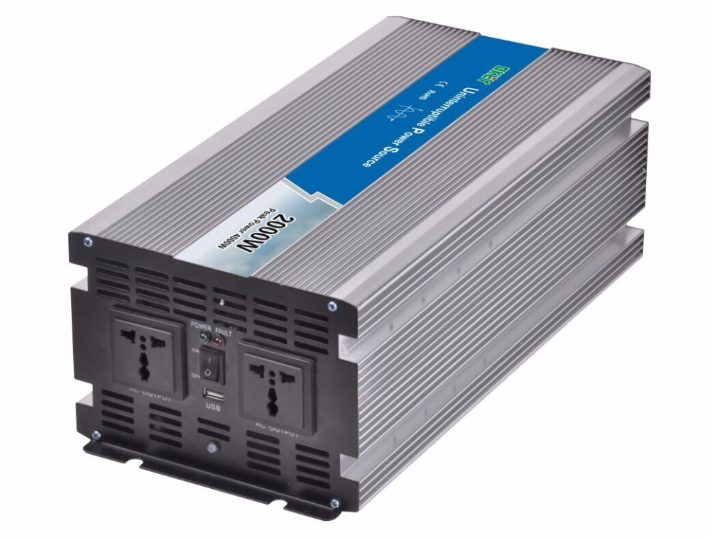 12VDC to 230VAC 50Hz UPS inverter 15A charger inside, 2000w pure sine wave power inverter with charging function
