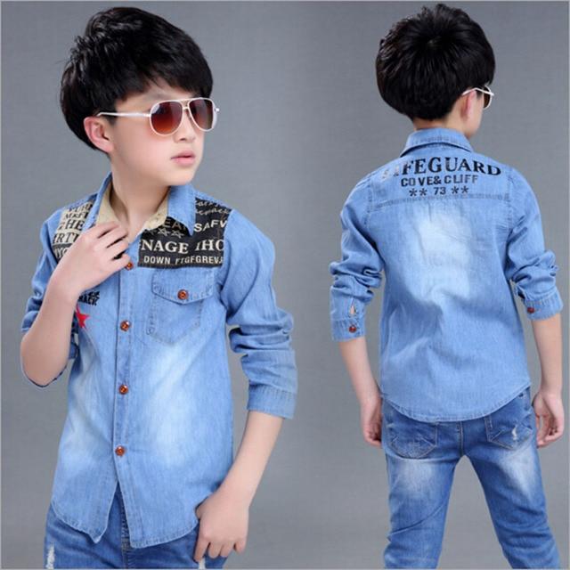 Boys Outwear Clothes Boys Casual Jeans Shirt Kids Cowboys Jacket