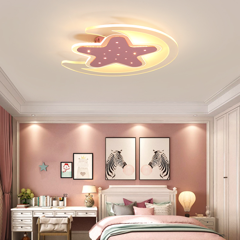 Ultra-thin creative simple boy girl bedroom lights stars moon led ceiling lights cartoon childrens room led lamps
