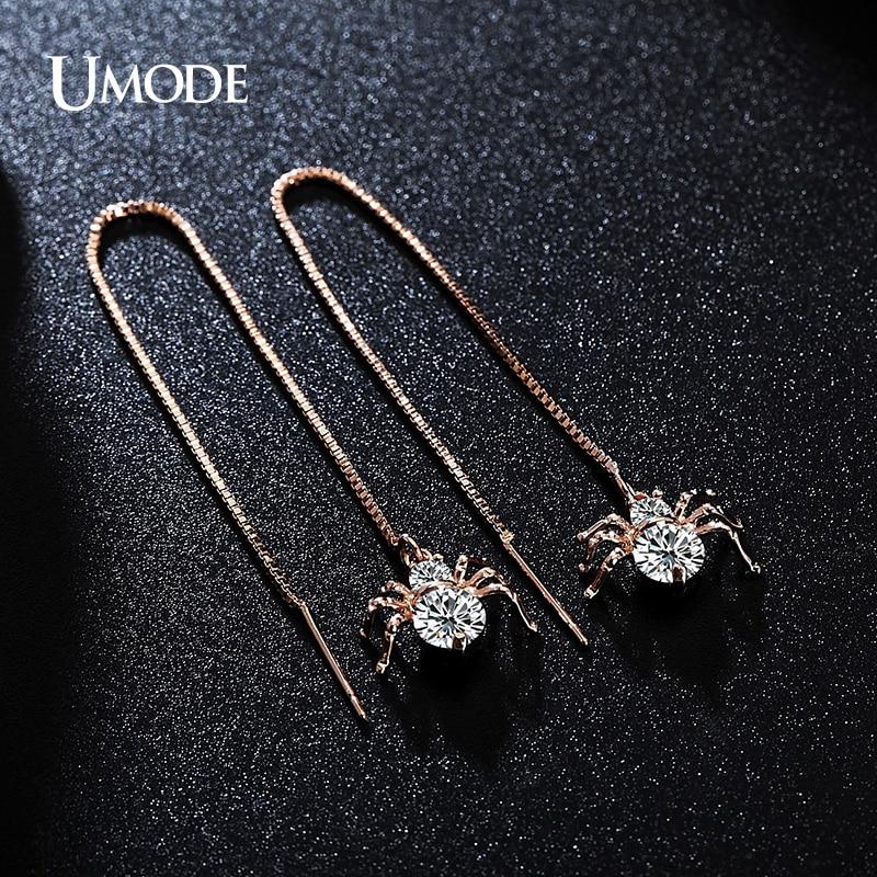 UMODE Spider Vormige Oorbellen Rose Goud Kleur Ronde Cut AAA CZ Lange - Mode-sieraden - Foto 2