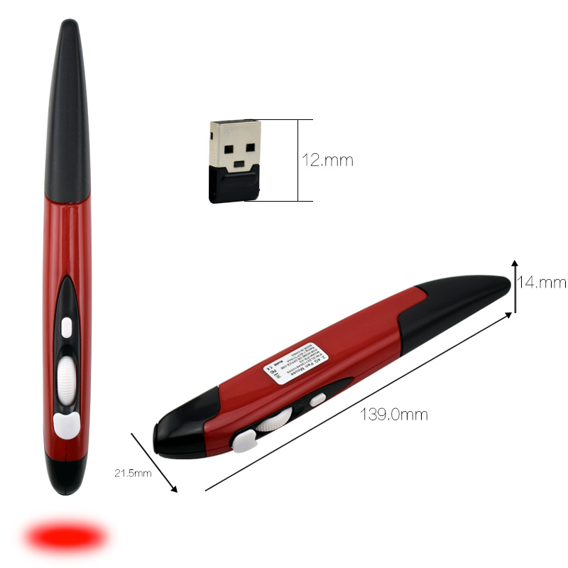 2 in 1 Mini Wireless USB Optical Laser Pointer Pen PC Mouse 5