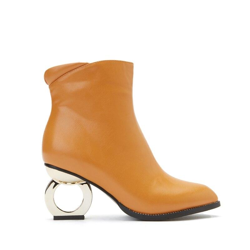 Haute Bout Grande Talon Enmayer Femmes 30 Chaussures Métal Causalité yellow Bottes Bottines 45 De Femme Glissière gray Black Mode À En Cr1362 Taille Étrange Pointu wmNn08