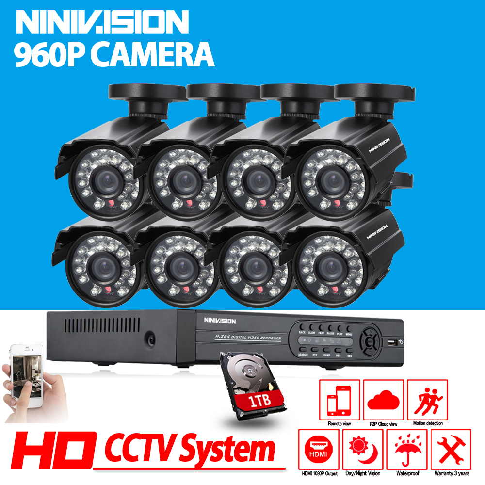 wireless security camera system 8CH CCTV System HD 600TVL Bullet Outdoor Home Video Camera System Surveillance Kits 1TB HDD