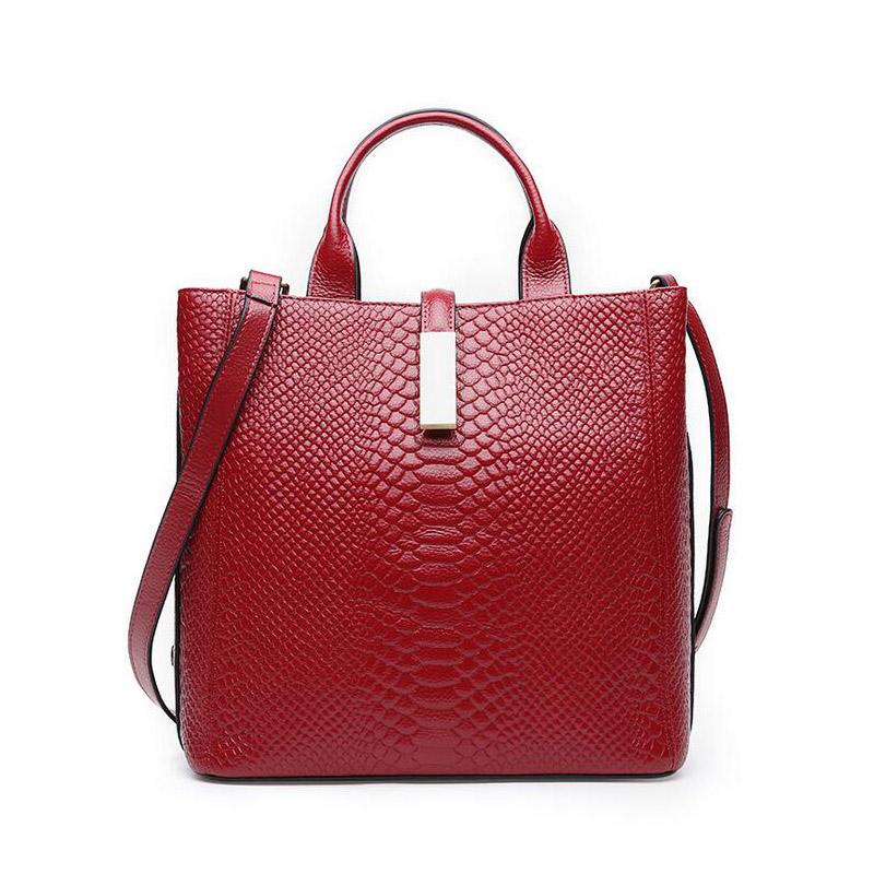 Genuine Leather Handbags For Women Cow Leather Serpentine Embossed Shoulder Bags Famous Brands Ladies Messenger Casual