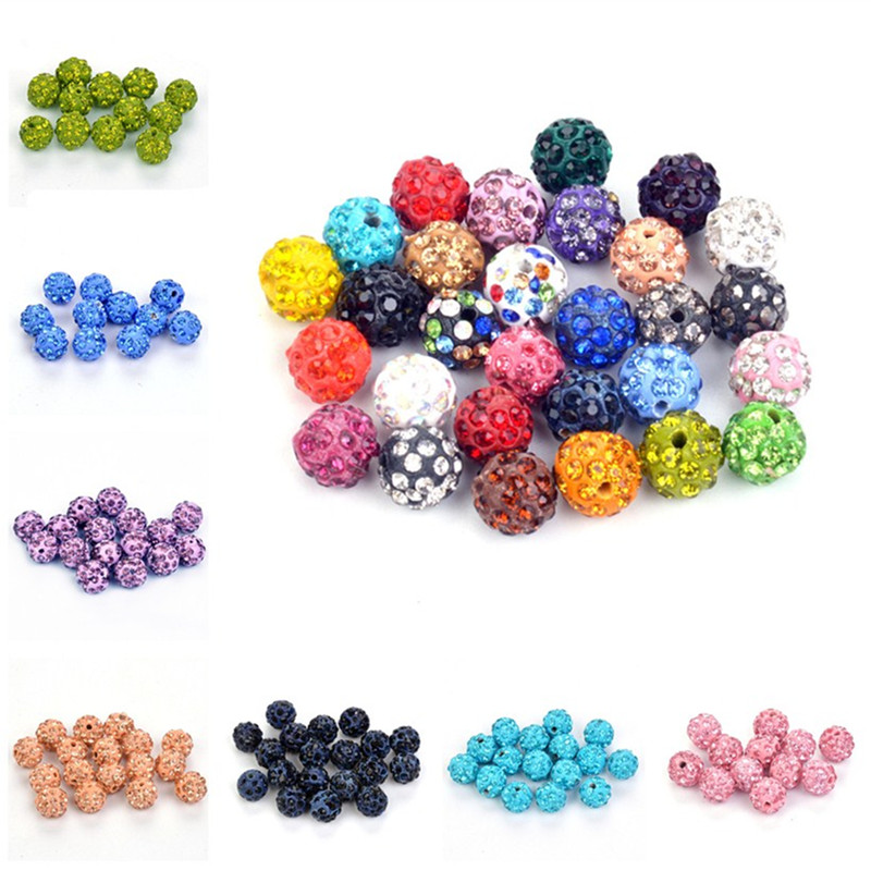Beads Beads & Jewelry Making 50pcs/lot 10mm Shamballa Beads Crystal Clay Disco Ball Beads Shambhala Spacer Beads For Shamballa Bracelet Jewelry Making Attractive And Durable