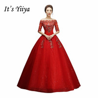Free Shipping YiiYa Red Boat Neck Wedding Dresses Bride Princess Ball Gowns Cheap Bridal Vestidos De