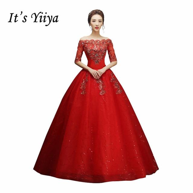 It\'s YiiYa Red White Boat Neck Wedding Dresses Half Sleeves Bride ...