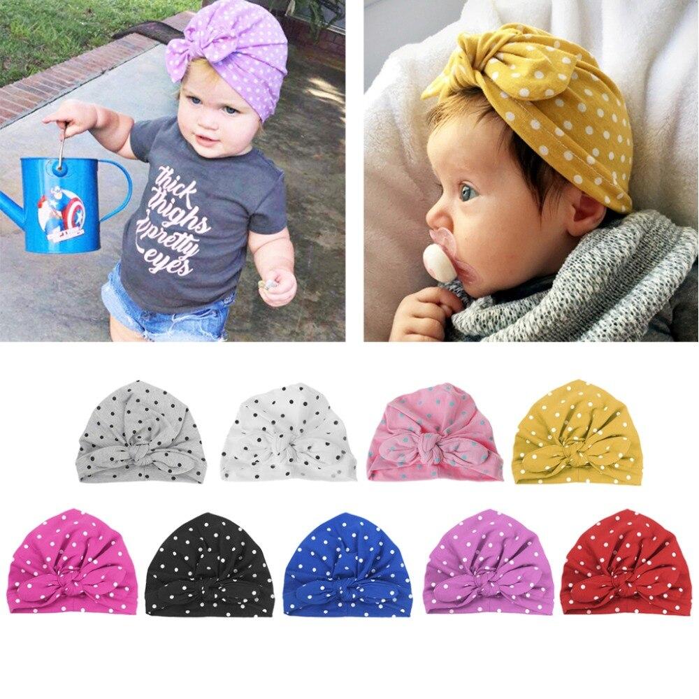 Сладкий горошек для маленьких девочек шляпа с бантом Карамельный цвет детская чалма Кепки младенческой аксессуары для От 0 до 2 лет