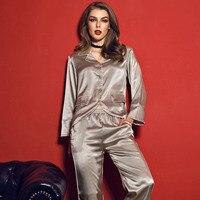 SESERIA Womens Satin Pajamas Sets Sleepwear Pajamas Sets Turn Down Collar Sexy Sleepwear Pants