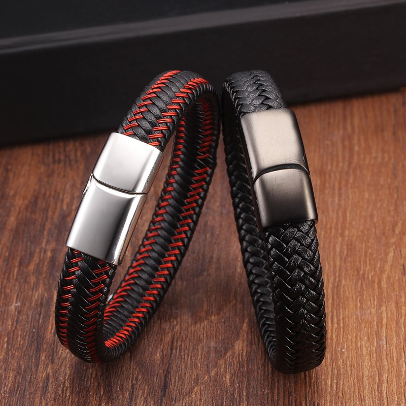 High Quality Braided Chain Link Genuine Leather Male Men Bracelets Stainless Steel Magnetic Buckle Fashion Charm Bracelets