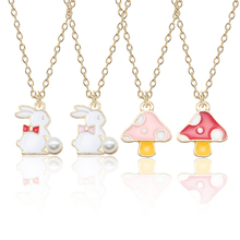 Fashion Simple Bow Rabbit Pendant Alloy Mushroom Pearl Necklace Silver Chain Ladies Christmas Jewelry