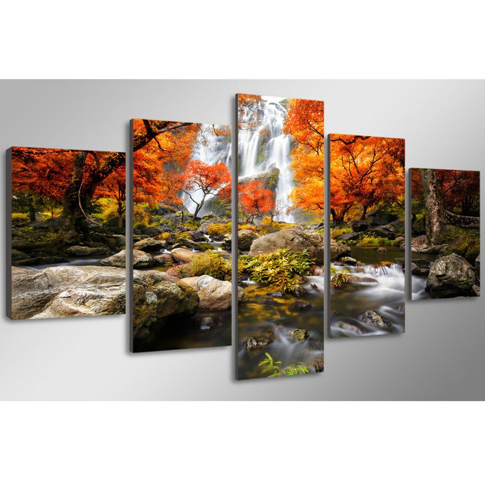 Home decor frame wall art poster 5 panel autumn nature lake forest waterfall landscape living room hd canvas print pictures in painting calligraphy from