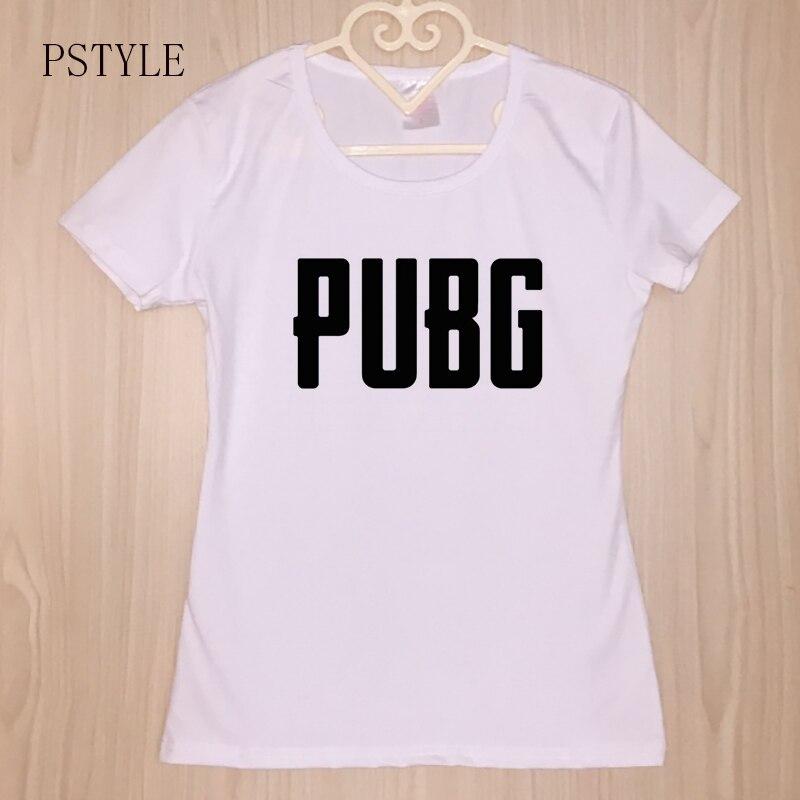 2018 Summer Short Sleeve Women Fashion T shirt PUBG Letters Printed Tshirt White Modal O-neck Female T-shirt Girls Top Tee Cloth